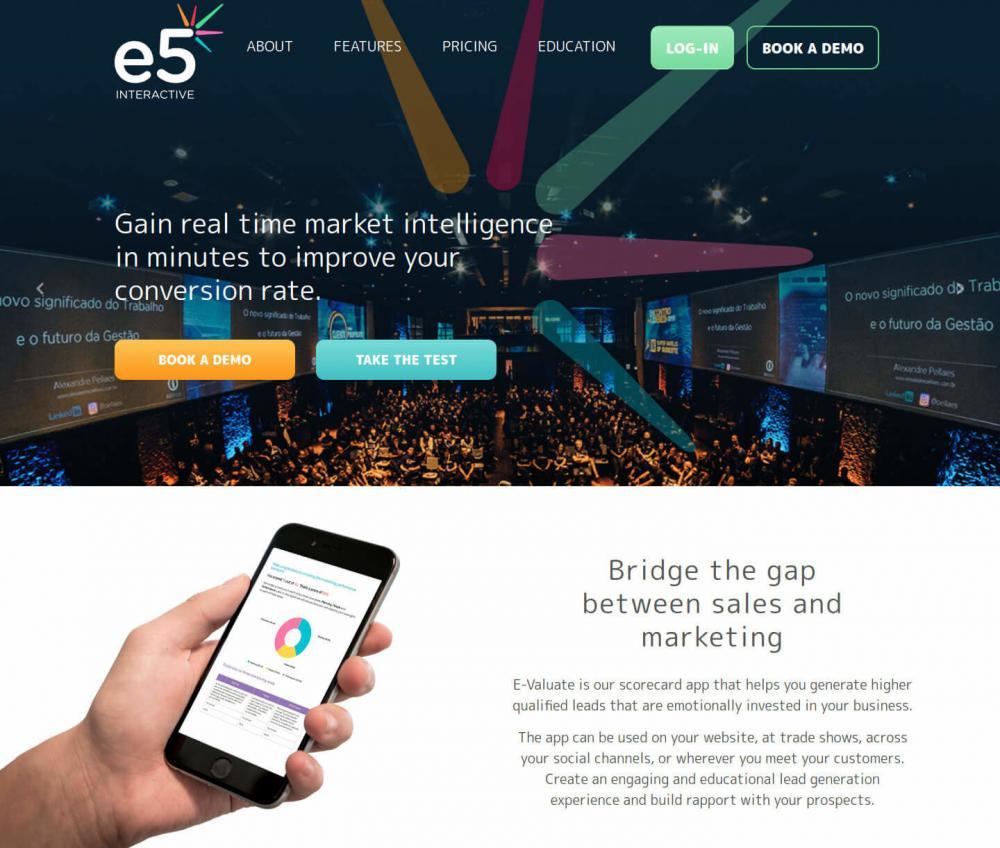 E5 Interactive homepage screenshot